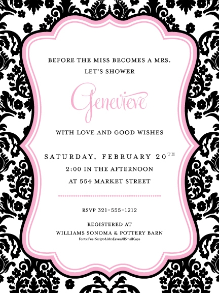 Damask Pink Border Darling Damask Pink Invitation